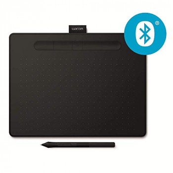 Wacom Intuos M black, Bluetooth Pen tablet Wireless Graphic Tablet for painting, sketching and photo retouching with 3 free creative software downloads, Windows & Mac compatible