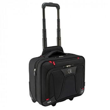 """Wenger 600664 TRANSFER Expandable Wheeled Laptop Briefcase , Padded laptop compartment with iPad/Tablet / eReader Pocket in Black 16,5"""" w X 14"""" h X 8"""" d"""