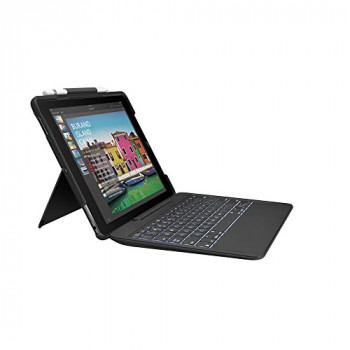 Logitech 920-008446 iPad Pro 10.5 Inch Keyboard Case (Slim Combo with Detachable, Backlit Wireless Keyboard and Smart Connector, QWERTY Spanish Keyboard Layout) Black