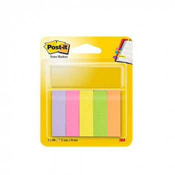 Post-it 15mm x 50mm Note Page Markers - Orange/ Green/ Yellow/ Pink/ Neon Pink (100 Sheets)