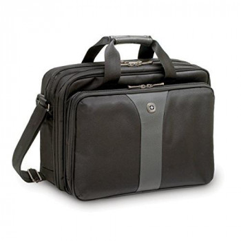 "Wenger 600648 LEGACY 16"" Double-Gusset Laptop Case , Airport friendly with padded triple protect compartment in Black / Grey {15 Litres}"