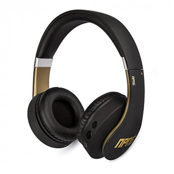 No Proof No Glory NP-2 Bluetooth Wireless/Wired Over-Ear Headphones | Stereo | Adjustable | Flex Anti-Tangle Cable | Microphone | Remote Control - Black/Gold (VEP-022-NPNG)