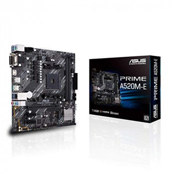 ASUS Prime A520M-E AMD A520 (Ryzen AM4) micro ATX motherboard with M.2 support, 1 Gb Ethernet, HDMI/DVI/D-Sub, SATA 6 Gbps, USB 3.2 Gen 2 Type-A