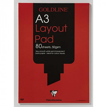 Clairefontaine Goldline Layout Pad, A3, 50 gsm, 80 Sheets