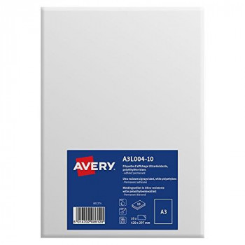Avery A3 Ultra-Resistant Printable Sign/A3 Signage, White, 297 x 420 mm, Pack of 10