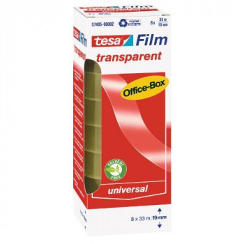 tesafilm Silent Clear Adhesive Tape for use at Home, Office or School, 8 Rolls 33 m x 19 mm