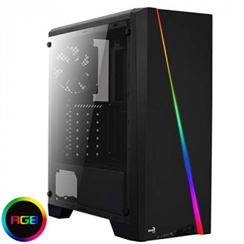 AeroCool Cylon Mid-Tower RGB PC Gaming Case, Atx, Full Tempered Glass Side Window, 13 Lighting Modes, 1 x 120Mm Black Fan Included, Built with Gamers In Mind - Black