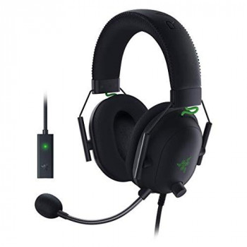 Razer Blackshark V2 with USB sound card - Premium Esports Gaming Headset (wired headphones with 50mm driver, noise reduction for PC, Mac, PS4, Xbox One and Switch)
