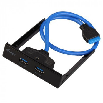 I-Tec USB 3.0 Front Panel Adaptor with 2 HUB Connections Type A Built-in USB 3.0 19 Pin Male Cable 45 cm