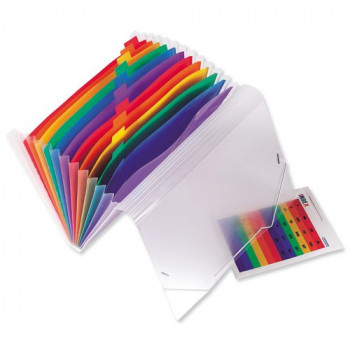 Europa 42159 Coloured Polypropylene Expanding File with 13 Pockets, A4 Size