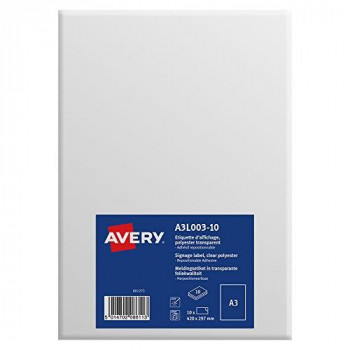 Avery A3 Laminated Printable Sign/A3 Signage, Transparent, 297 x 420 mm, Pack of 10