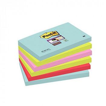 Post-it 6556MIA 76 x 127 mm Super Sticky Note - Aqua Wave/Neon Green/Neon Pink