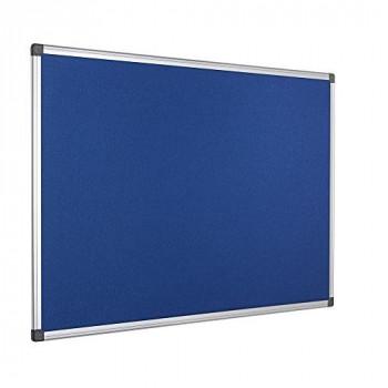 Bi-Office Maya Blue Felt Notice Board Aluminium Frame 120x90cm