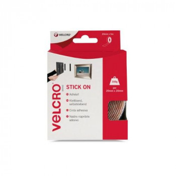 VELCRO Brand - Stick On Hook and Loop Fasteners | Perfect for Home or Office | 20mm x 5m Tape | White