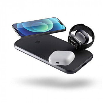 Zens Qi certified 4in1 dual aluminium wireless charger with Apple Watch charging cable (Apple & Samsung Fast Charging, Additional USB port, 45W PD power plug included)