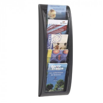 Fast Paper Quick Fit Literature Holder Wall-mount 5 x A5 Pockets W228xD95xH650mm Black Ref 4063.01