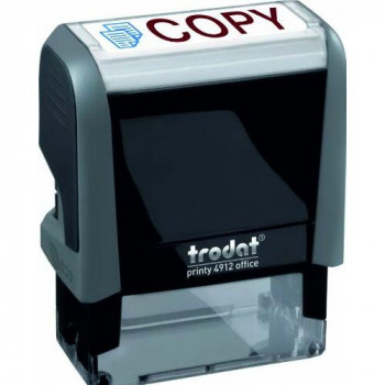 Trodat 286912 Office Printy Stamp Self-inking Copy 18x46mm Reinkable Red and Blue Ref 43241