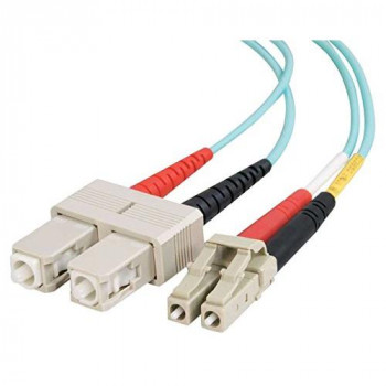 C2G 2m LC-SC 10Gb 50/125 OM3 Duplex Multimode PVC Fibre Optic Cable (LSZH) - Aqua