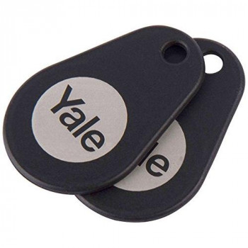 Yale P-YD-01-CON-RFIDT-BL Smart Door Lock Key Tags, Black, Pack of 2