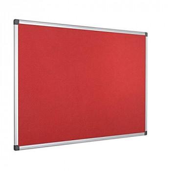 Bi-Office Maya Red Felt Notice Board Aluminium Frame 120x90cm