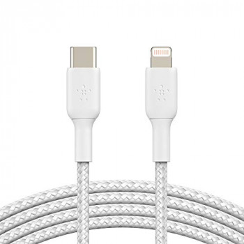 Belkin Braided USB-C to Lightning Cable (iPhone Fast Charging Cable for iPhone 8 or later) Boost Charge MFi-Certified iPhone USB-C Cable (2m, White)