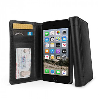 Twelve South Journal for iPhone SE (2nd Gen), 8/7/ 6, Full Grain Leather Wallet Folio Case and Display Stand, Black
