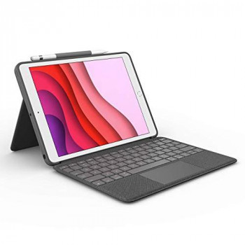 Logitech Combo Touch for iPad (7th generation) keyboard case with a trackpad, wireless keyboard and Smart Connector technology – Graphite