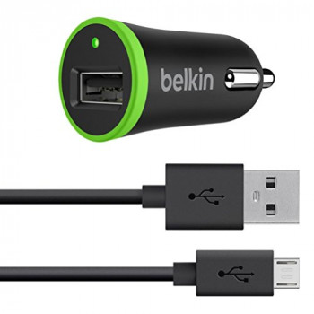Belkin 2.4 A Universal Car Charger with 1.2 m Micro-USB Cable - Black