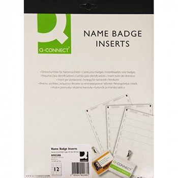 Q-Connect KF02288 Name Badge Inserts 40x75mm 25 Sheets) x 12 Inserts