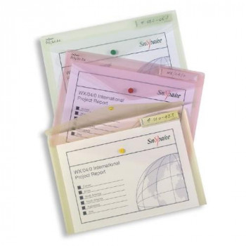 Snopake 11154X Polyfile Foolscap Popper Wallet File with Press Stud and Index Tab  Classic Clear (Pack of 5)