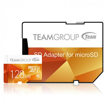Team Group 128 GB MicroSDXC Colour Memory Card with Adapter - Yellow