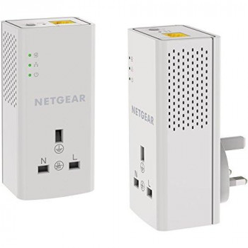 NETGEAR PLP1000-100UKS 1 Port,1000 Mbps, 1 Gigabit Port Powerline Adapter with Extra outlet - Pack of 2