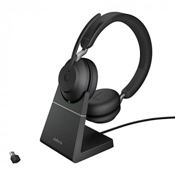 Jabra Evolve2 65 Wireless Headset with Charging Stand – Noise Cancelling UC Certified Stereo Headphones with Long-Lasting Battery – USB-C Bluetooth Adapter – Black