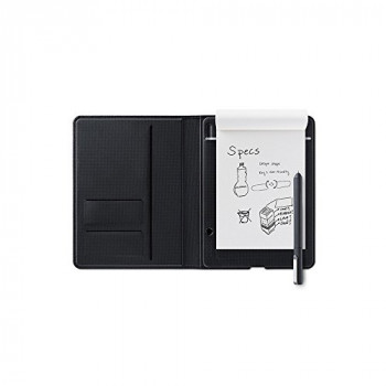 Wacom Bamboo Folio Digital Notepad A5 (Half Letter Size) ? Small Portfolio Notebook with Digitisation Technology incl. Stylus with Ballpoint Pen ? Compatible with Android and Apple