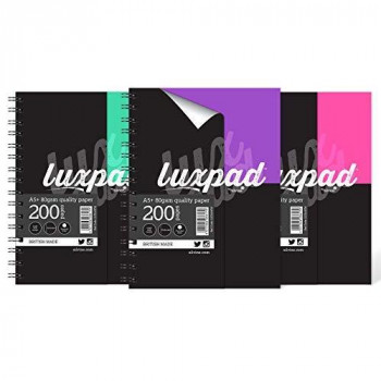 Luxpad A5+ Flexi-Covered Twin Wire Notebook - Assorted Colours [Pack of 3] (A5)