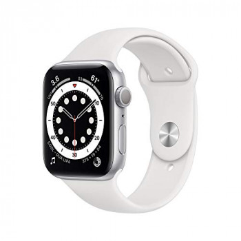 Apple Watch Series 6 GPS, 44mm Silver Aluminium Case with White Sport Band - Regular