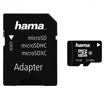 Hama 16GB Class 10 Micro SDHC Memory Card with SD Adapter