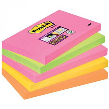 Post-it Super Sticky Notes - Neon Rainbow - Neon Pink, Limeade, Ultra Yellow, Neon Orange - 5 Pads Per Pack - 90 Sheets Per Pad - 76 mm x 127 mm