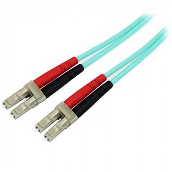 StarTech Aqua OM4 Duplex Multimode Fiber Optic Cable - 100 Gb - 50/125 - LSZH - LC/LC (1m)