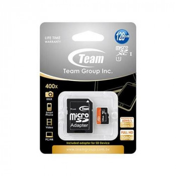 Team 128GB Micro SDXC UHS-1 Class 10 Flash Card with Adapter