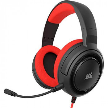 Corsair HS35 Stereo Gaming Headset, Custom 50 mm Neodymium Speakers, Detachable Unidirectional Microphone, Lightweight Build with PC, Xbox One, PS4, Nintendo Switch and Mobile Compatibility, Red