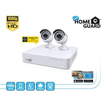 Homeguard HGDVK47702 Guardian HD CCTV Kit-4 Channel DVR + 2 Cameras Security, White