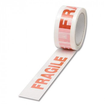 Printed Tape Fragile Polypropylene 50mmx66m Red on White Pack of 6