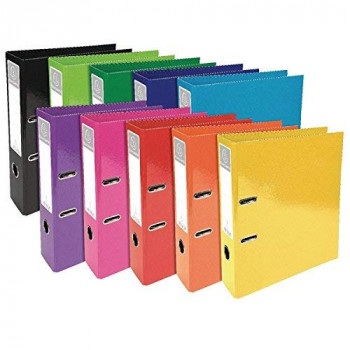 Exacompta 53629E A4 Iderama Prem'Touch Spine Lever Arch File, Assorted Colours, 70 mm, Pack of 10