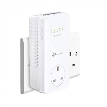 TP-Link TL-WPA8630P Dual Band Gigabit AC1350 Add-On Powerline Adapter, Range Extender, Wi-Fi Extender/Booster, Data Transfer Speed Up To 1300 Mbps, Extra Power Socket, No Configuration Required