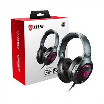 MSI IMMERSE GH50 7.1 Virtual Surround Sound RGB Gaming Headset 'Black with Ambient MSI Dragon Logo, RGB Mystic Light, USB, inline audio controller, 40mm Drivers, detachable Mic' - S37-0400020-SV1