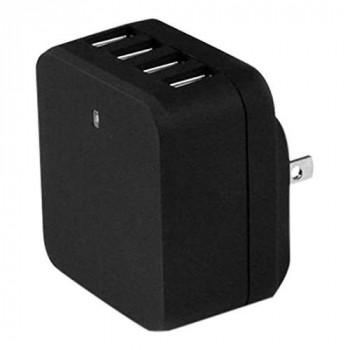 StarTech 4-Port USB Wall Charger - International Travel 34W/6.8A (Black)