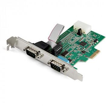 StarTech.com 2-port PCI Express RS232 Serial Adapter Card - PCIe RS232 Serial Host Controller Card - PCIe to Dual Serial DB9 Card - 16950 UART - Expansion Card - Windows, macOS, Linux (PEX2S953)