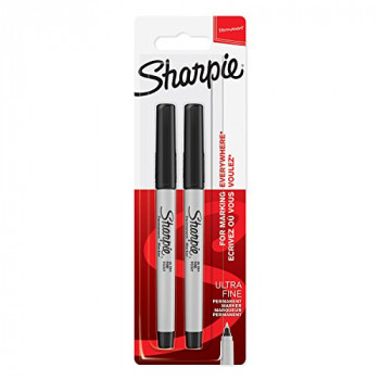 Sharpie Permanent Markers, Ultra-Fine Tip - Black, Pack of 2