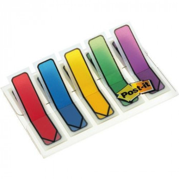Post-it® Index Arrows - 5 Colours - 20 of Each Colour - Clear Dispenser - 12mm